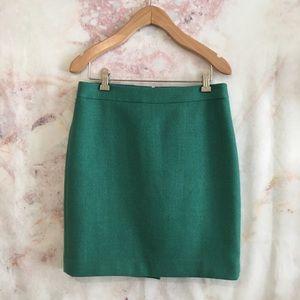 Like New J. Crew Green 100% Wool Pencil Skirt